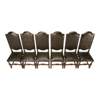 Spanish Hand Tooled Leather Side Chairs - Set of 6