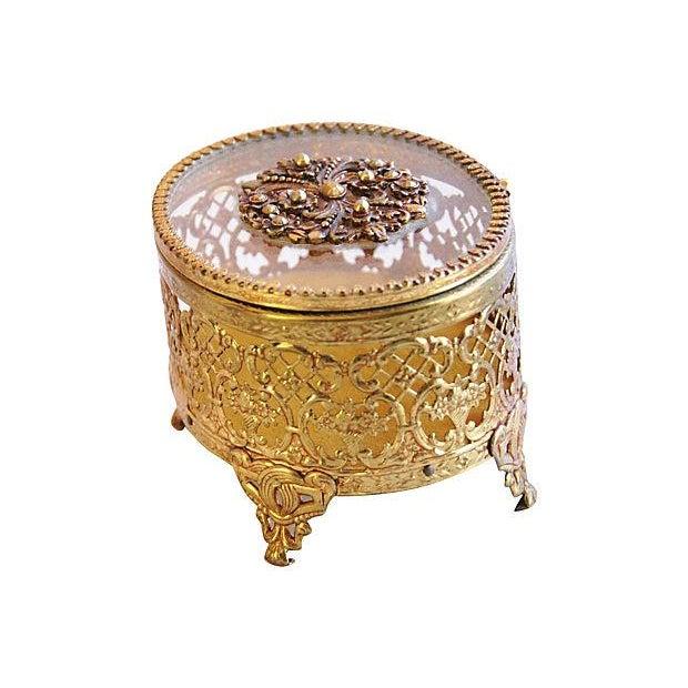 1940s Brass & Glass Jewelry Trinket Box - Image 3 of 6