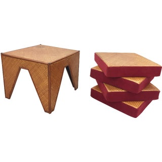 Vintage Woven Side Table & Stacking Ottomans - Set of 5