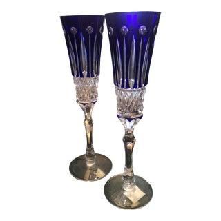 Faberge Xenia Cobalt Blue Champagne Flutes - A Pair