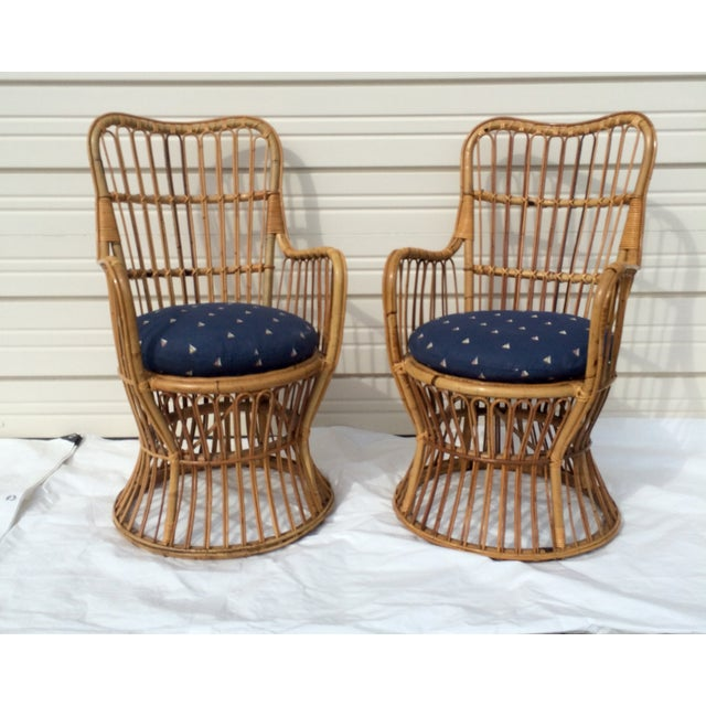 Boho Chic Rattan Chairs - A Pair - Image 2 of 9