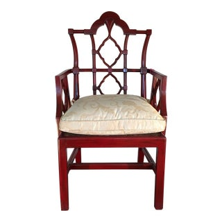 Red Chinese Designer Arm Chair With Peking Lattice Back