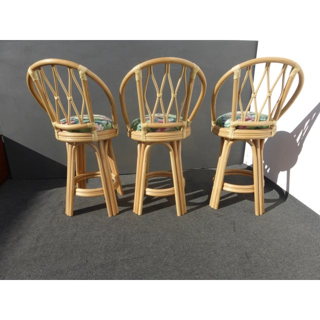 Mid-Century Faux Bamboo Bar Stools - Set of 3 - Image 5 of 11