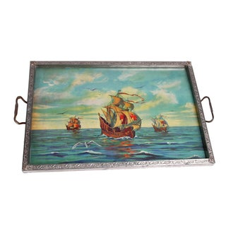 1930's Sailboat Glass & Metal Tray