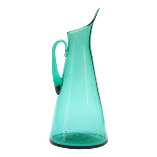 Teal Blown Glass Pitcher By Winslow Anderson For Blenko