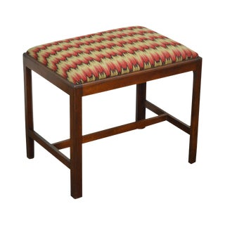 Custom Solid Mahogany Chippendale Style Stool w/ Bench