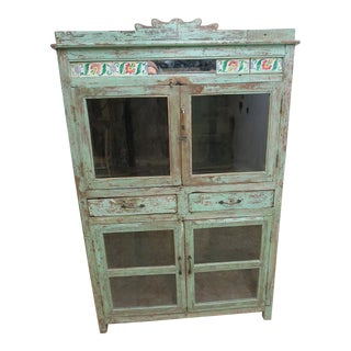 Antique Mint Architectural Salvage Hutch
