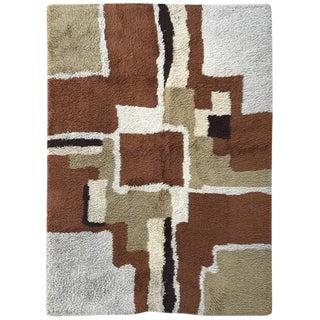 Vintage Color Blocked Shag Rya Rug - 4′8″ × 6′7″