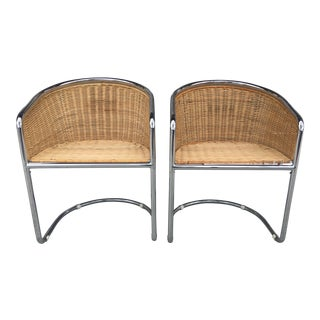 Mid-Century Wicker & Chrome Side Chairs- A Pair