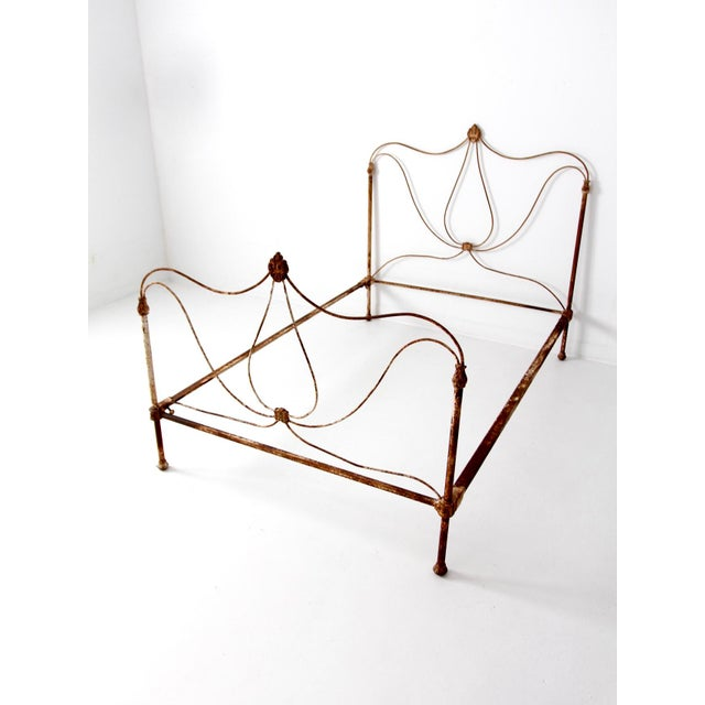 Antique Art Nouveau Iron Bed - Image 2 of 10