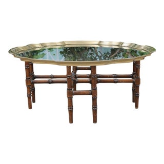 Hollywood Regency Bamboo Style Coffee Table