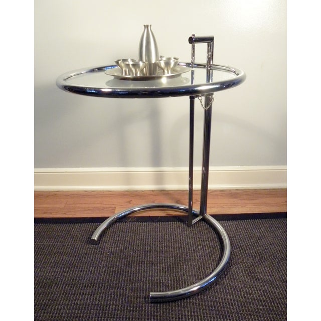 eileen gray vintage stainless steel accent table chairish. Black Bedroom Furniture Sets. Home Design Ideas