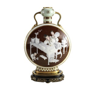 1876 Antique Mintons Pate-Sur-Pate Decorated Porcelain Moon Flask