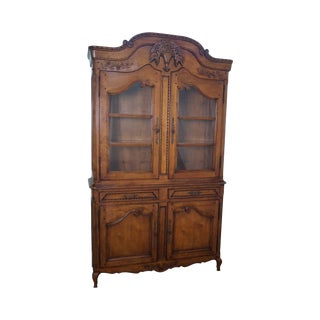 Fine Quality French Country Style Large Fruitwood Hutch China Cabinet