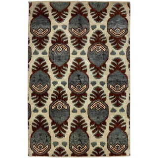 "New Ikat Hand Knotted Area Rug - 6'2"" X 9'2"""