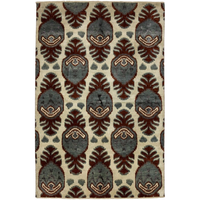 "New Ikat Hand Knotted Area Rug - 6'2"" X 9'2"" - Image 1 of 3"