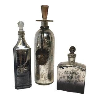 Halloween Mercury Glass Decanters - Set of 3