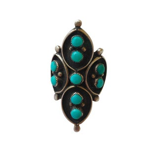 Vintage Turquoise Flower Knuckle Ring