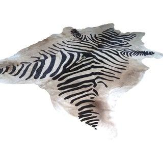 """Zebra Hide Rug XL Devore  - 5'8"""" x 7'2"""""""