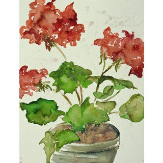 Geraniums Floral Watercolor Painting