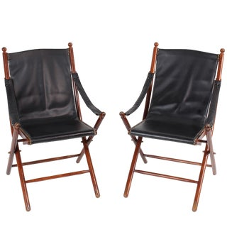 Vintage Italian Campaign Style Folding Chairs - A Pair