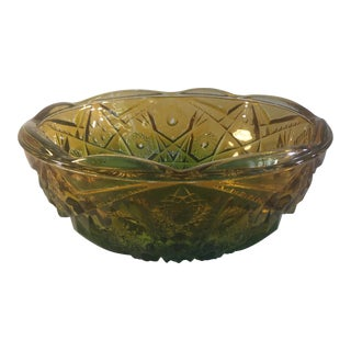 Ombre Green Cut Glass Bowl