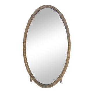 Italian Hollywood Regency Wood Oval Wall Mirror