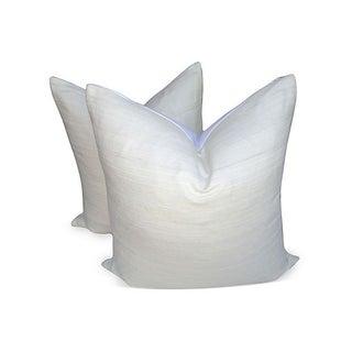 Pearl Raw Silk & Chambray Pillows - A Pair