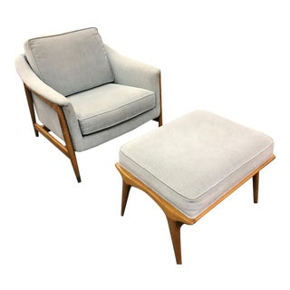 Vintage Mid-Century Modern Arm Chair and Ottoman