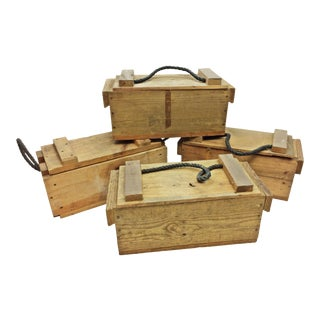 Small Wood Ammo Boxes with Rope Handles - Set of 4