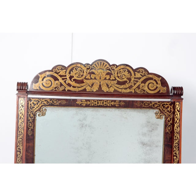 English Regency Rosewood Brass Inlay Boulle Work Cheval Mirror - Image 7 of 11