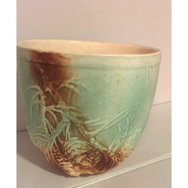 vintage ceramic cachepot with pinecone relief design. Black Bedroom Furniture Sets. Home Design Ideas