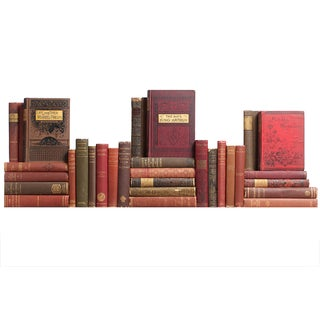 Red & Brown Distressed Victorian Books - S/30