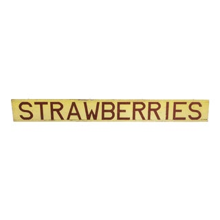 "Vintage Americana Central California Farm Stand Hand Painted ""Strawberries"" Sign"