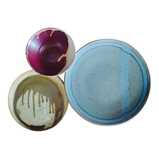 Hand-Thrown Pottery Plates and Bowl Set of 3
