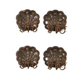 Wood Shell and Mirror Wall Sconces - Set of Four