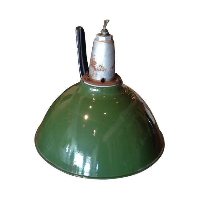 Image of 1940s Industrial Green Pendant Light