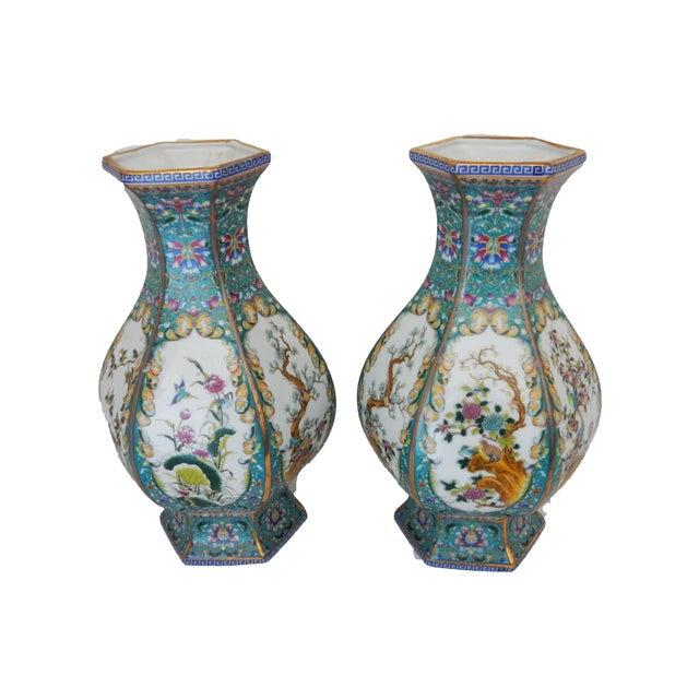 Famille Blue Floral Porcelain Vases - A Pair - Image 5 of 7