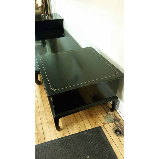 Am. Of Martinsville Black Lacquer Tables - Pair - Image 3 of 8