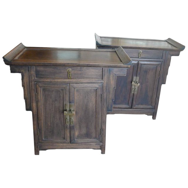 Pair of Wood Chinese Side Cabinets - Image 1 of 9