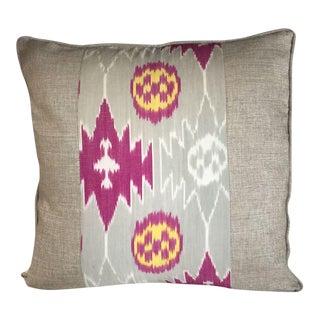 Kim Salmela Magenta and Gray Patchwork Pillow