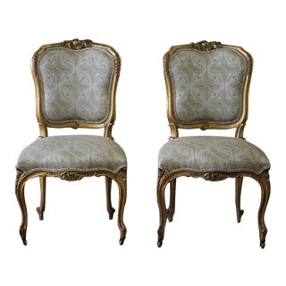 19th Century Louis XV Carved & Upholstered Giltwood Chairs - A Pair
