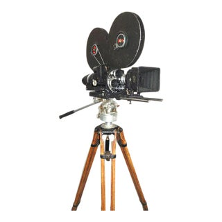 Mitchell circa Mid-20th Century Motion Picture Movie Camera on Vintage Tripod