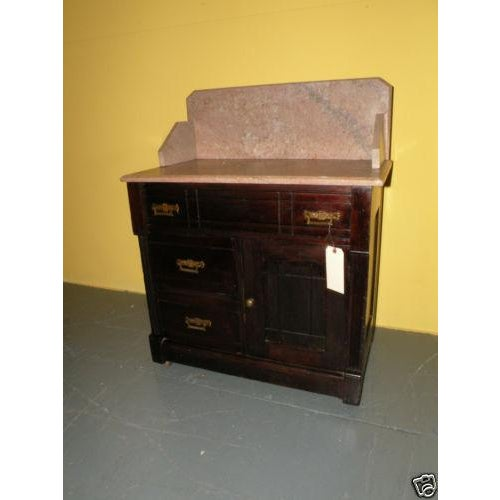 Image of Antique Eastlake Style Marble Top Dry Sink Table