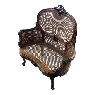 French Louis XVI Carved Walnut Cane Corbeille Settee