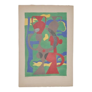 Mid Century Modern Color Abstract Lithograph by Leon Gischia c.1950