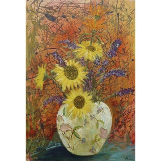 "Martha Holden ""Sunflowers"" Oil on Canvas Painting"