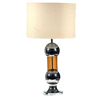 1970s Chrome & Amber Table Lamp