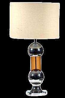 1970s Chrome U0026 Amber Table Lamp