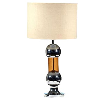 Image of 1970s Chrome & Amber Table Lamp